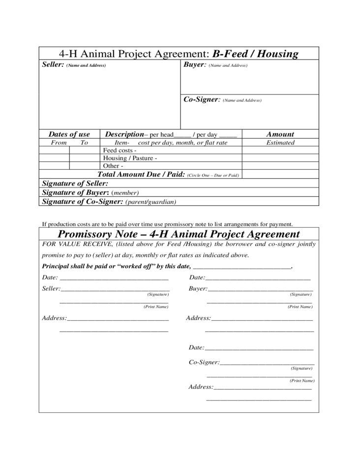 4-H Animal Project Agreement: A-Bill of Sale