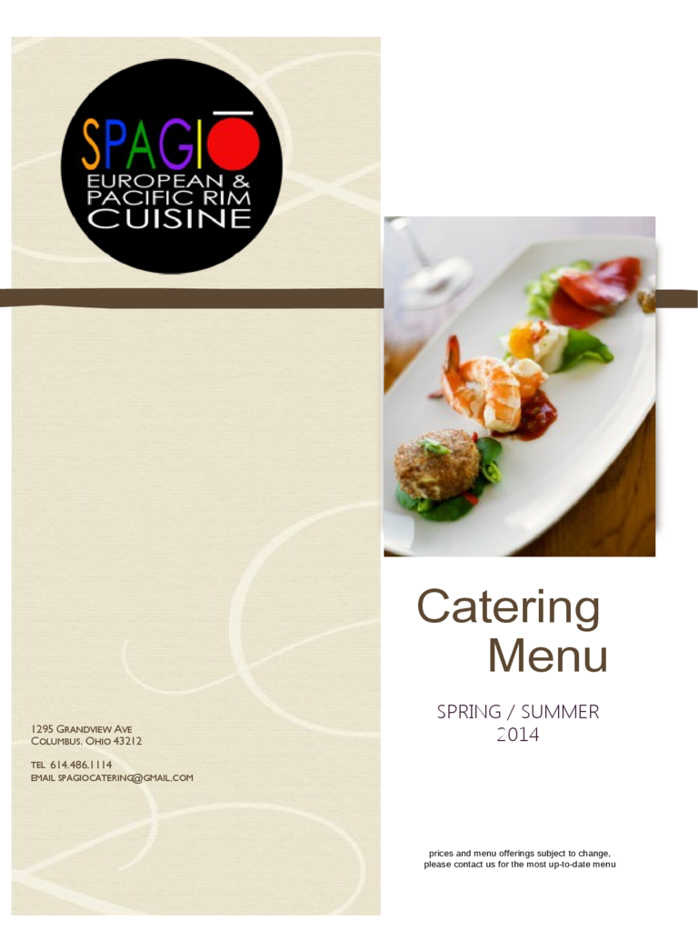 catering brochure templates 2 free templates in pdf word excel