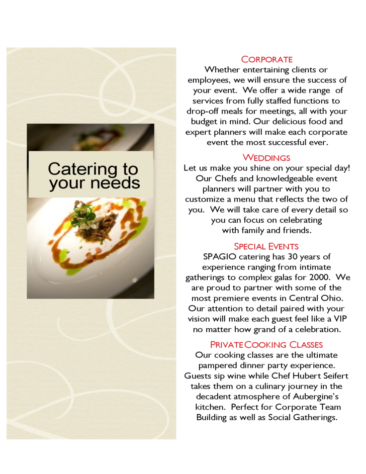 Catering brochure templates for sping summer menu free for Catering brochure templates
