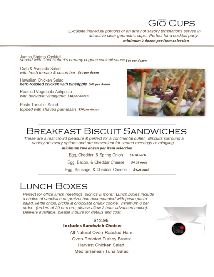 Catering Brochure Templates for Sping / Summer Menu