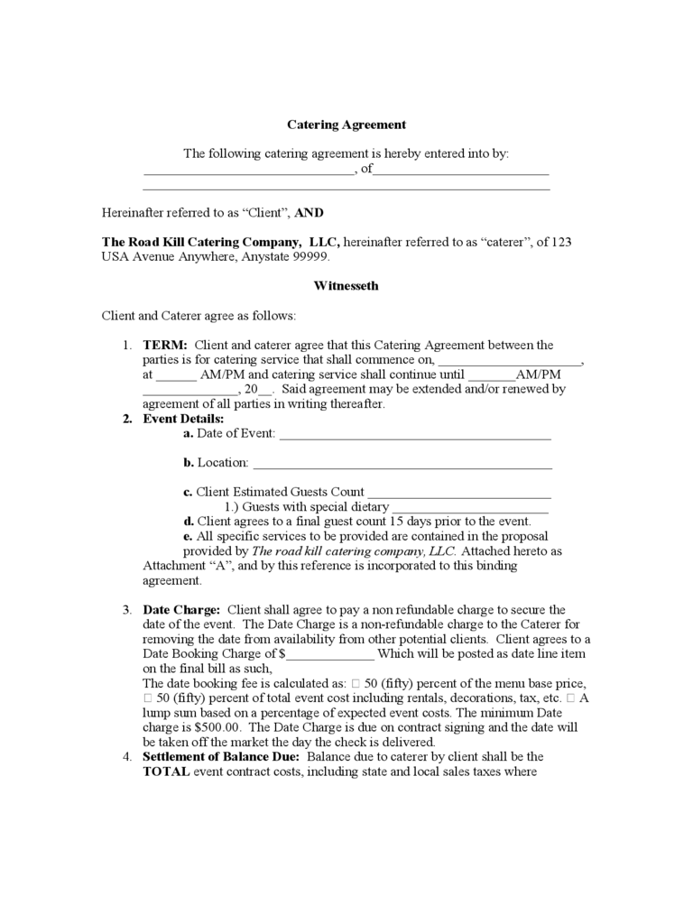 Catering contract template 6 free templates in pdf word for Catering contracts templates