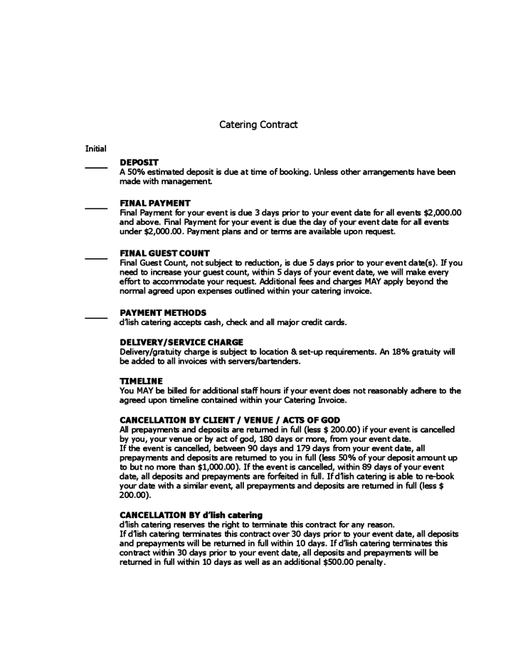Catering contract sample free download for Catering contracts templates