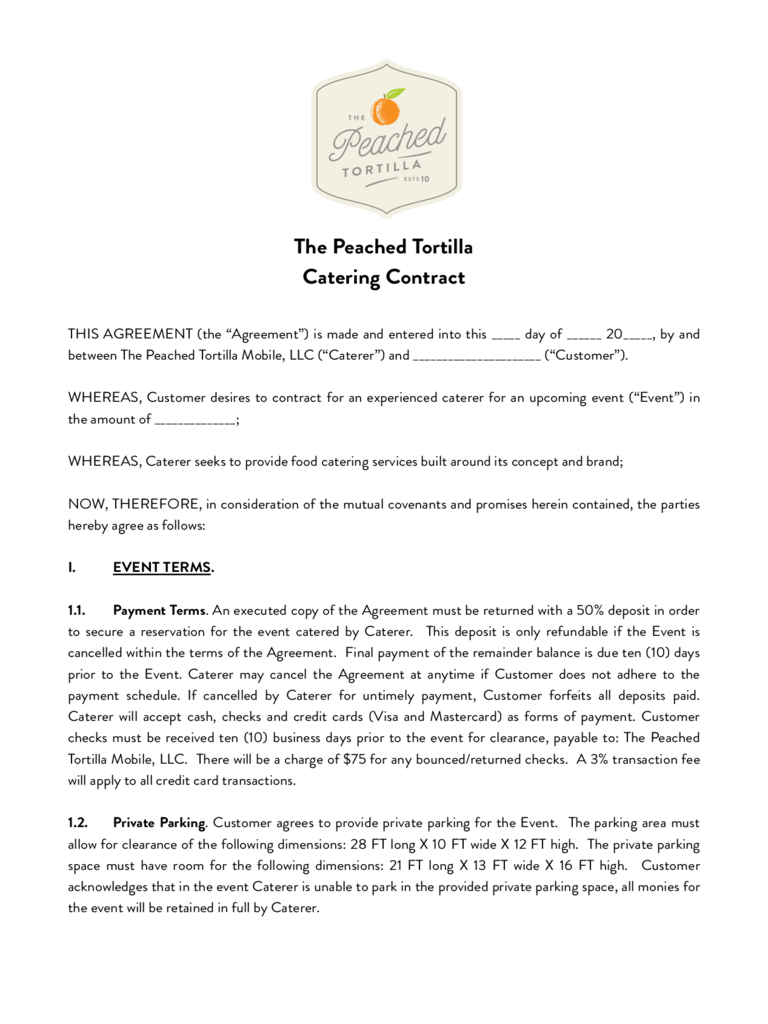 Catering contract template 6 free templates in pdf word excel catering contract peached package altavistaventures Images