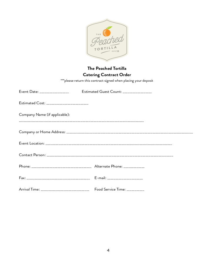 Catering Contract - Peached Package