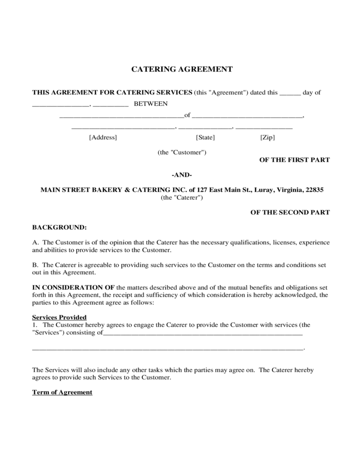 Catering contract form virginia free download for Catering contracts templates
