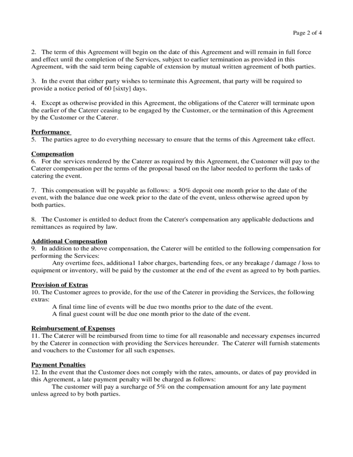 Catering Contract Form - Virginia