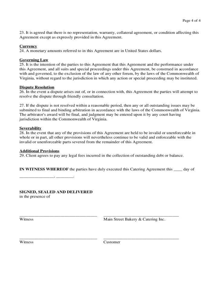 Catering Contract Form Virginia Free Download