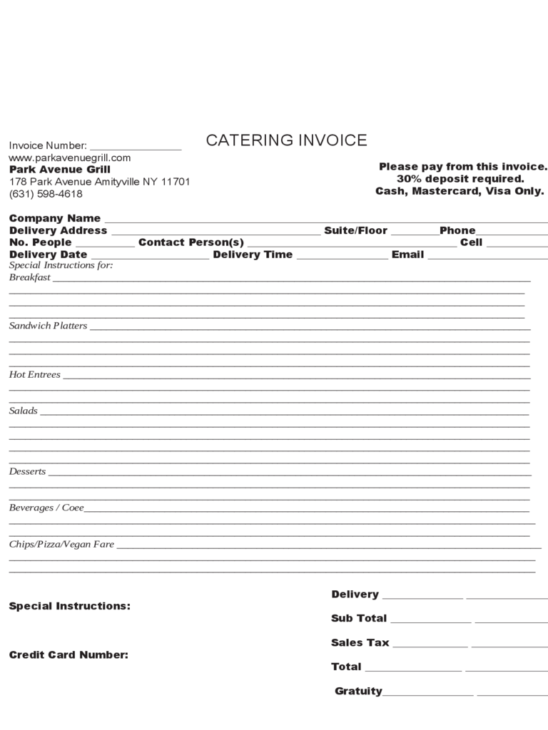 Sample Catering Invoice Template  Catering Invoice Template Excel