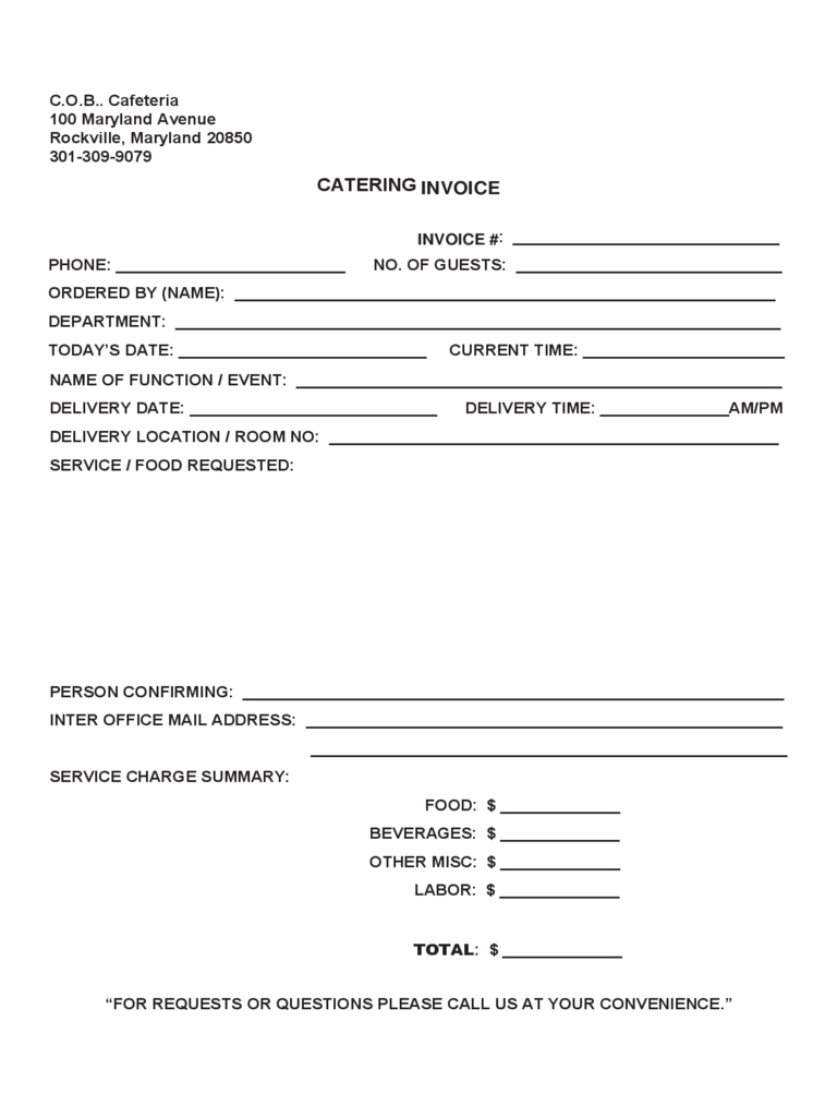 Basic Catering Invoice Template