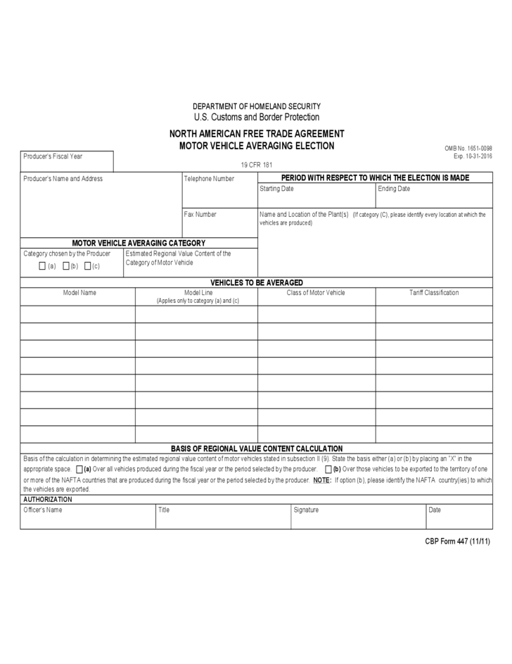 Cbp Form 447 North American Free Trade Agreement Motor Vehicle