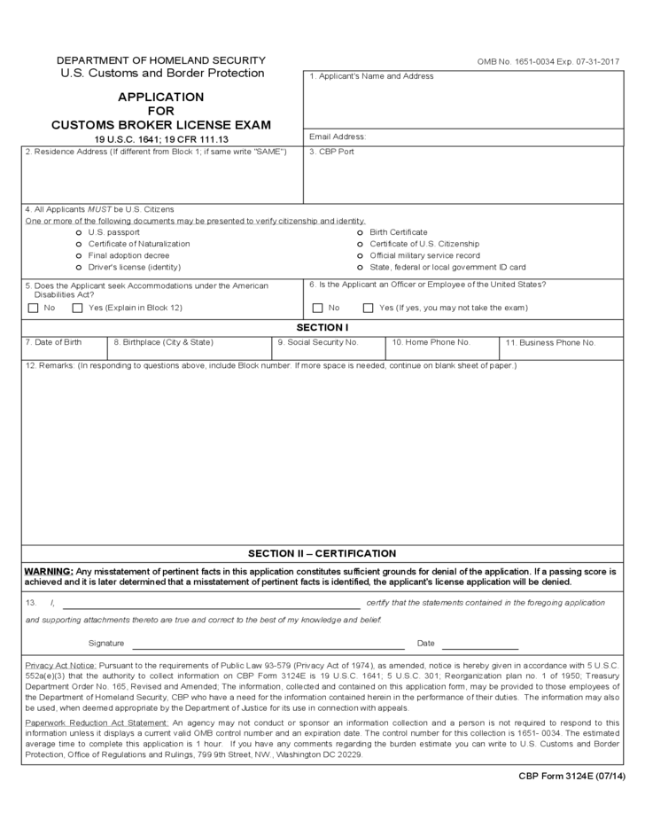 CBP Form 3124E - Application for Customs Broker License Exam Free ...