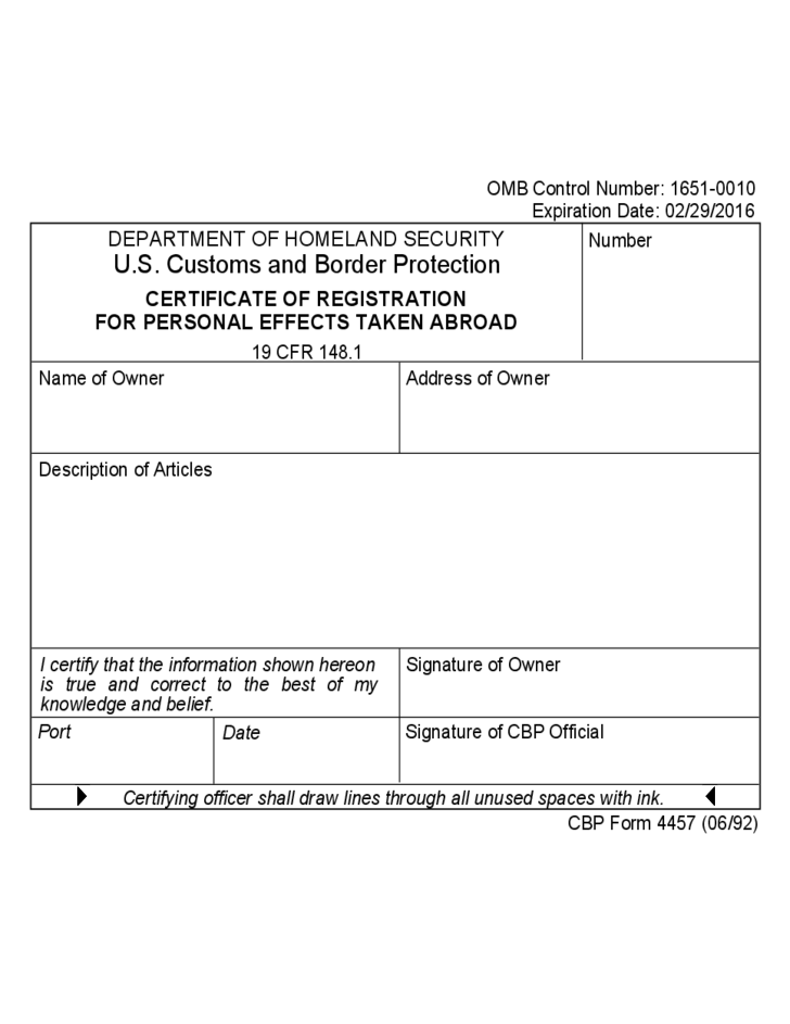 CBP Form 4457 - Certificate of Registration for Personal Effects ...