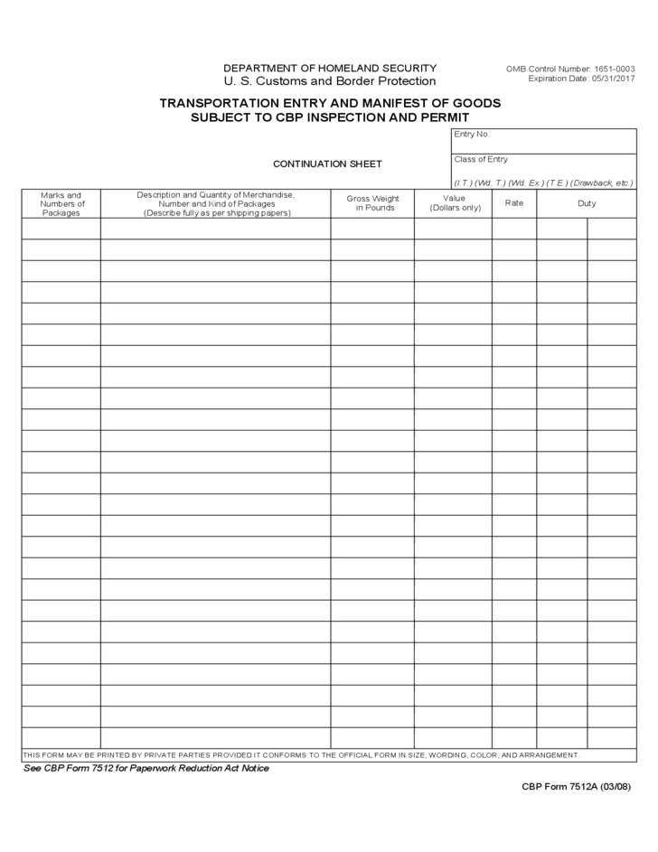 Cbp Form 7512a Transportation Entry And Manifest Of