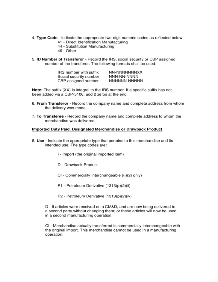 certificate form delivery cbp drawback purposes