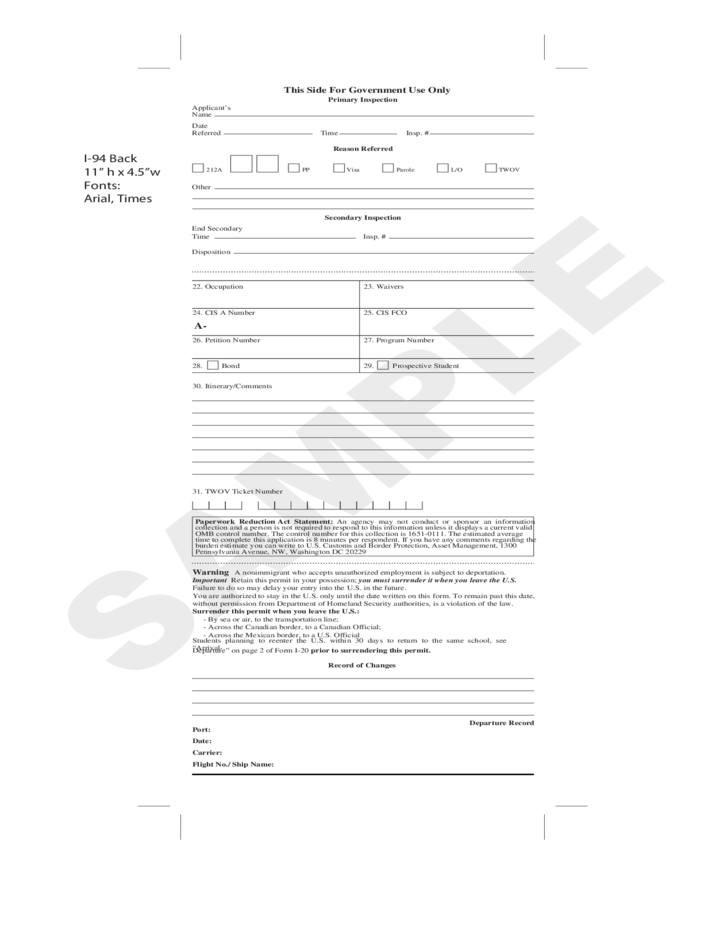 CBP Form I-94 - Arrival or Departure Record Free Download