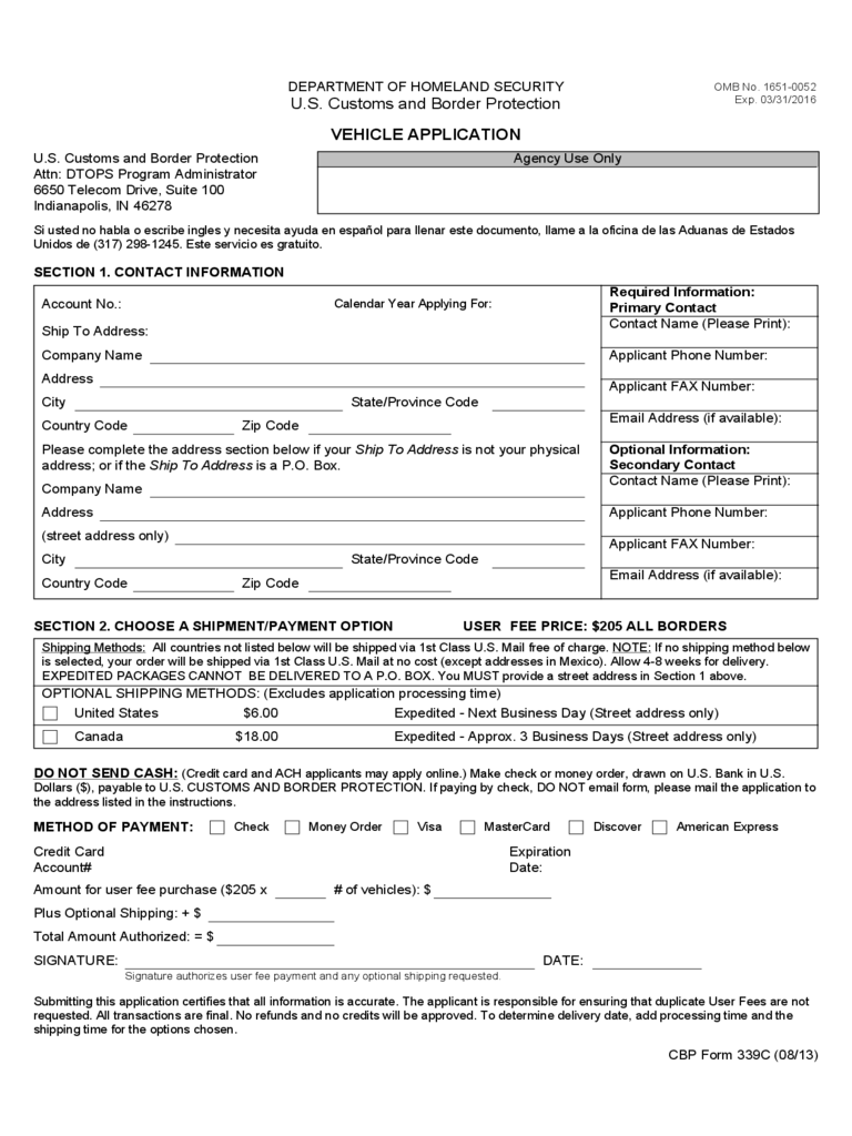 Customs And Border Protection Forms 89 Free Templates In