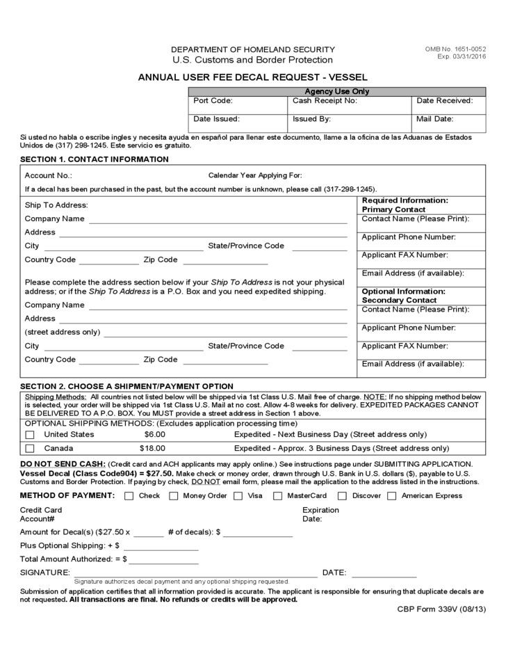 Cbp Form 339v Annual User Fee Decal Request Vessel Free Download