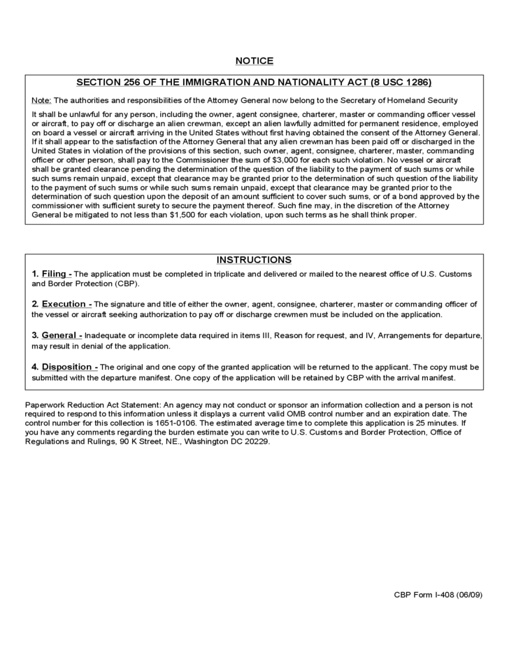 Cbp Form I 408 Application To Pay Off Or Discharge Alien Crewman