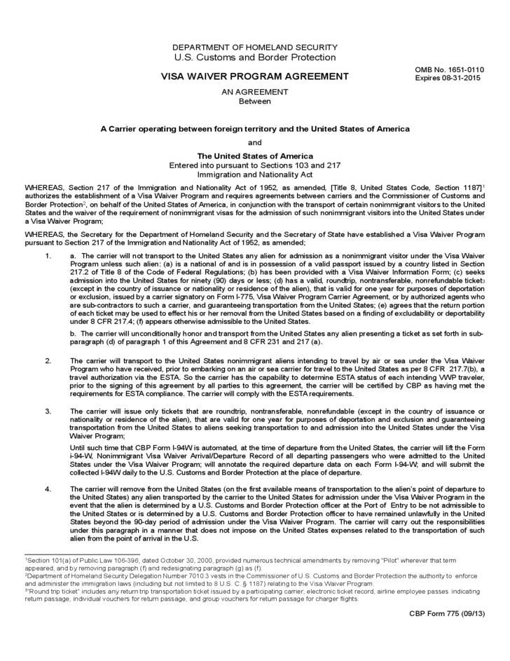 Cbp Form 775 Visa Waiver Program Agreement Free Download