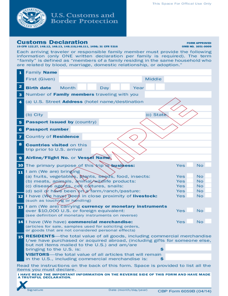 Form 6059b Customs Declaration Free Download