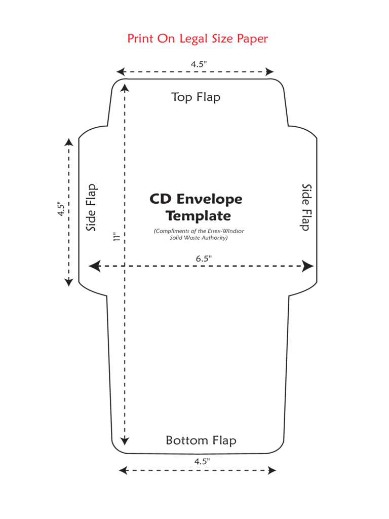 Standard CD Envelope Template