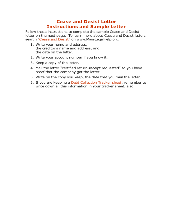cease and desist letter template for debt collectors - cease and desist letter free download