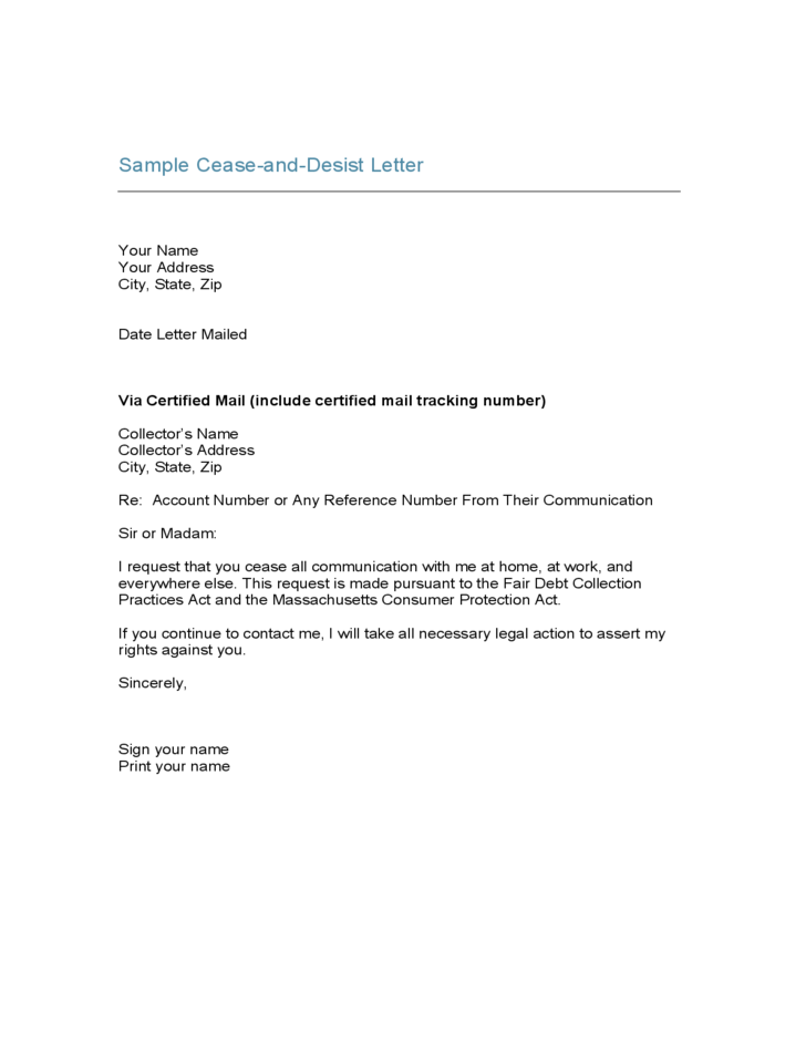 Sample cease and desist letter free download for Cease and desist letter template for debt collectors