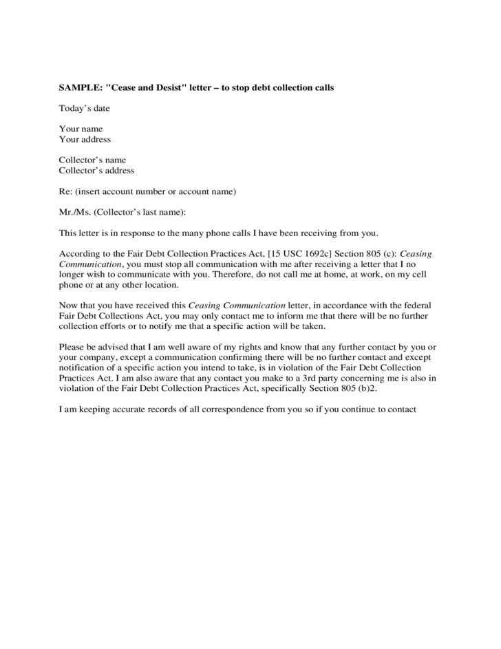 1 Sample Cease And Desist Letter Template  Free Cease And Desist Letter