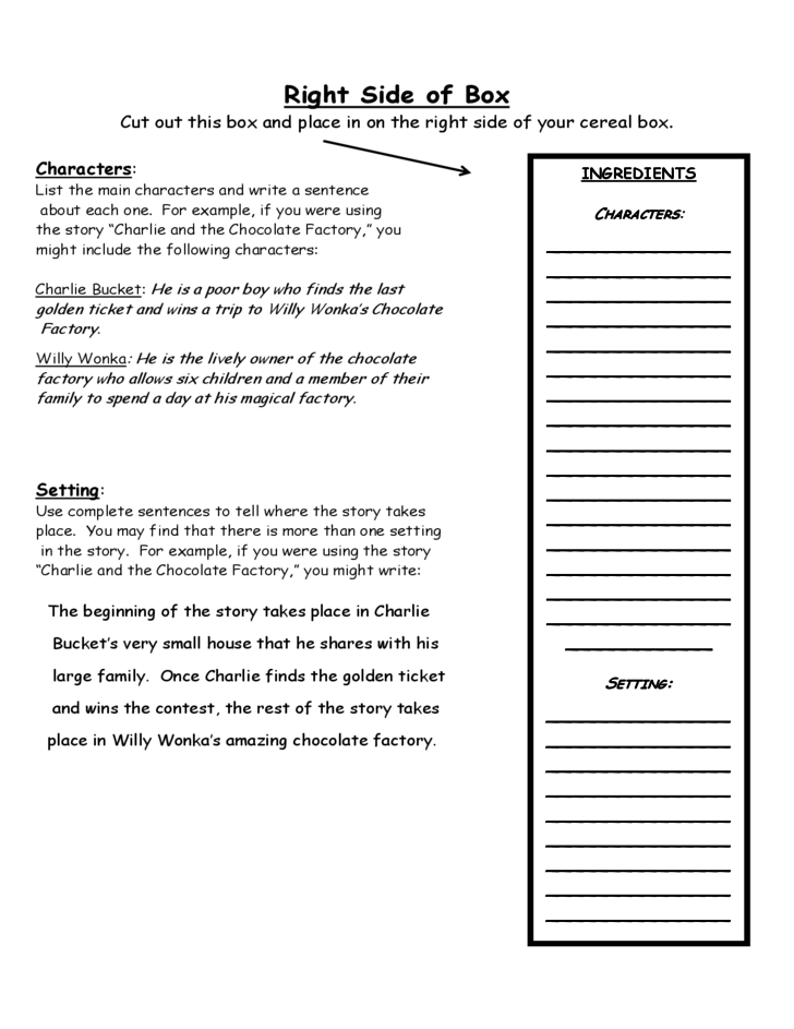 Cereal Box Book Report Packet Free Download – Cereal Box Book Report Template