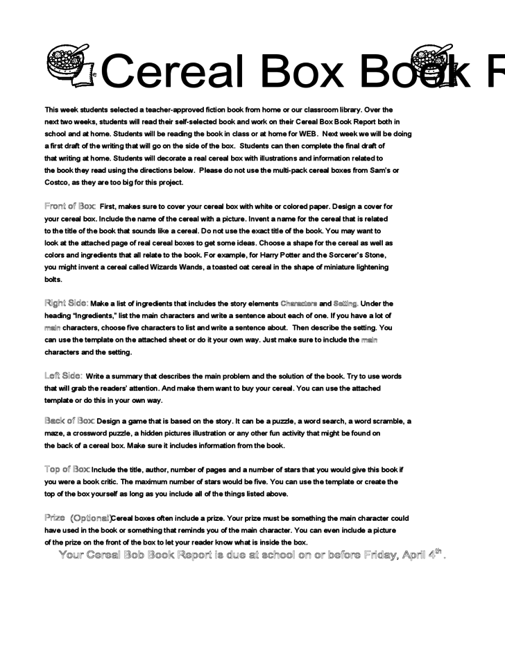 Cereal box book report summary essay academic writing service cereal box book report summary breakfast of readers design a cereal box book report materials ccuart Gallery