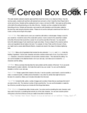 Cereal Box Book Report - Jones Elementary School Free Download