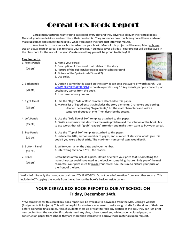 standard-cereal-box-book-report-d1 Gift Letter Template For Rent on fannie mae, for investment firm, thank you, mobile auto, real estate, monthly money, for co-op, mortgage for fha, for house buying,