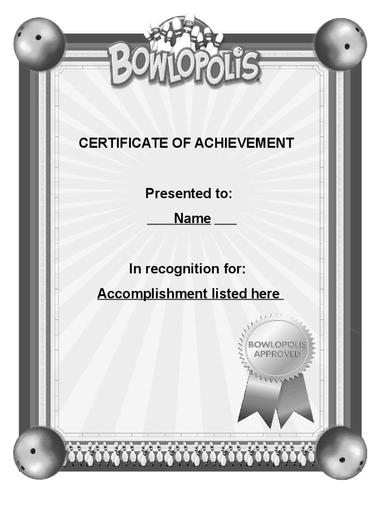 Blank Certificate of Achievement Template