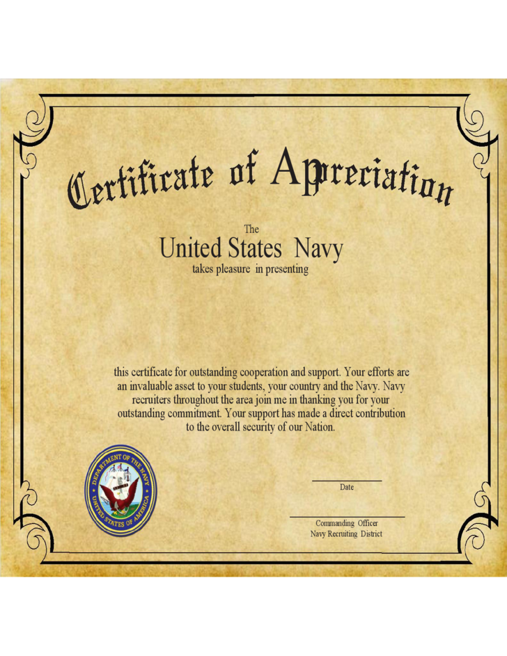 Certificate Of Appreciation Example Free Download