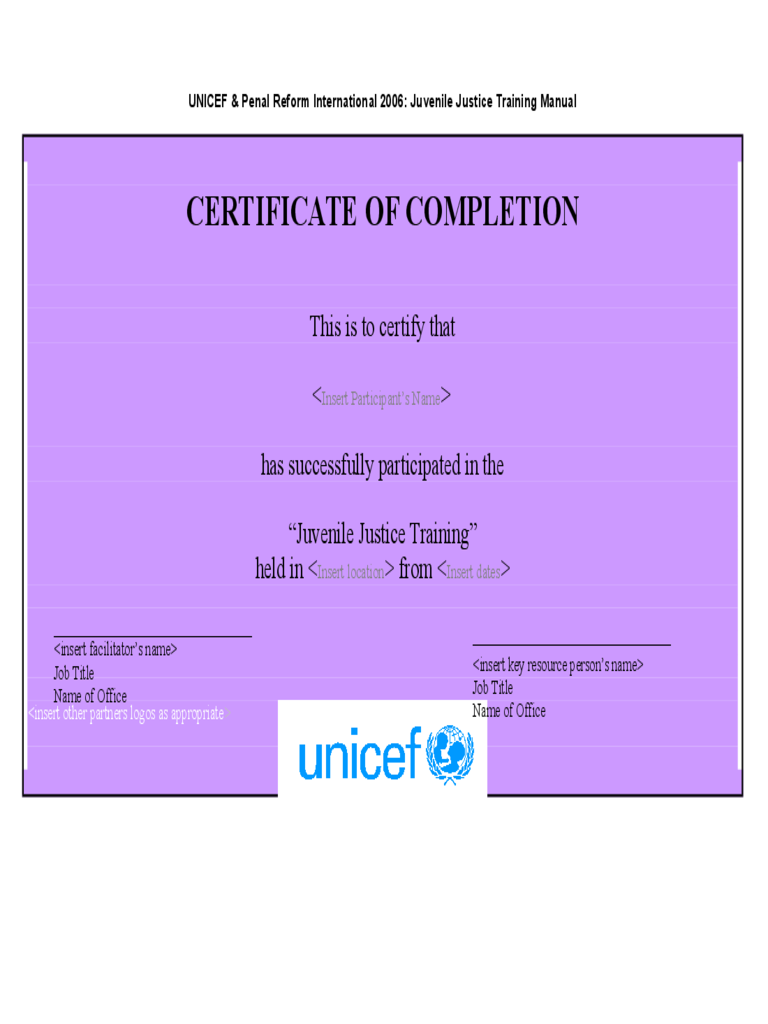 Blank Certificate of Completion Template