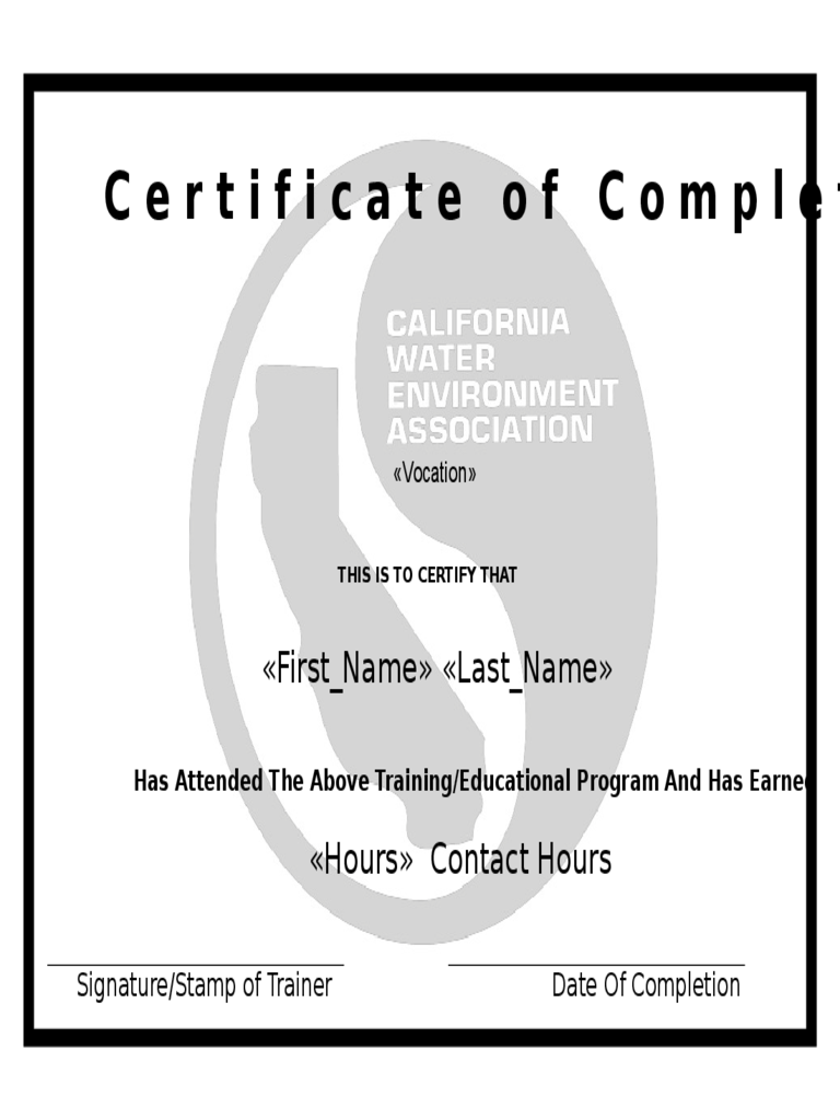 Standard Certificate of Completion Template