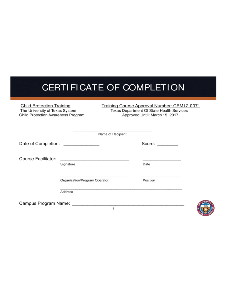 Certificate Of Completion Template Free Download Completion Template