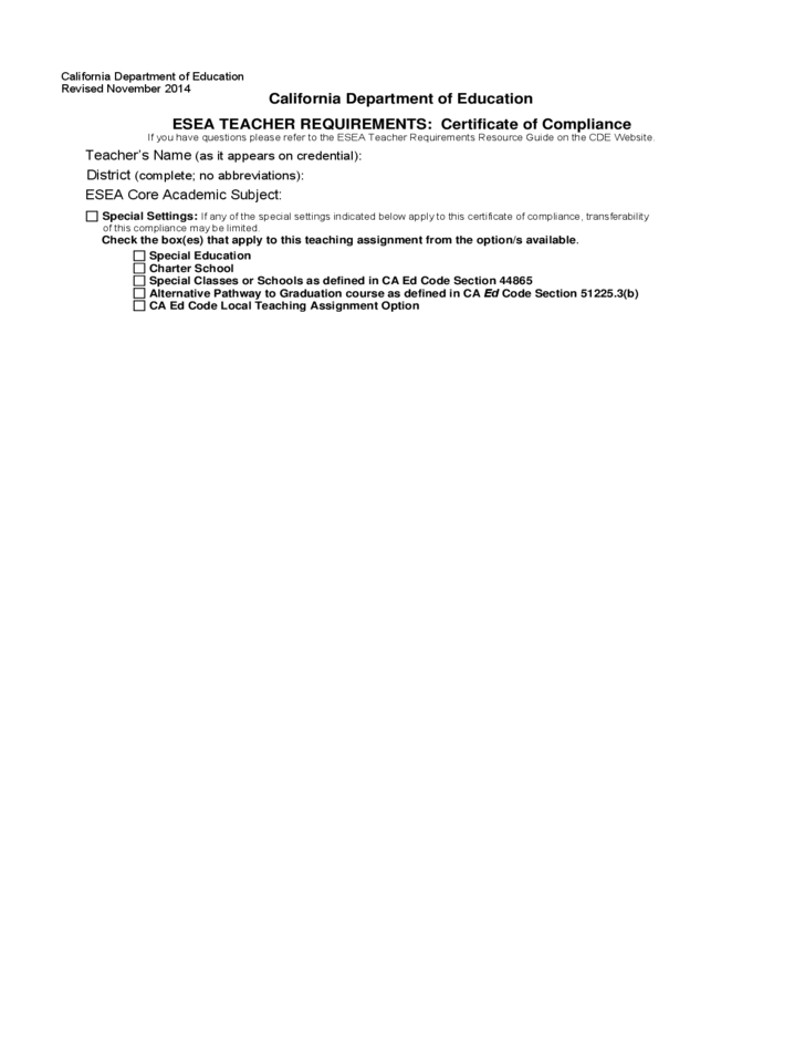 Certificate Of Compliance California Free Download