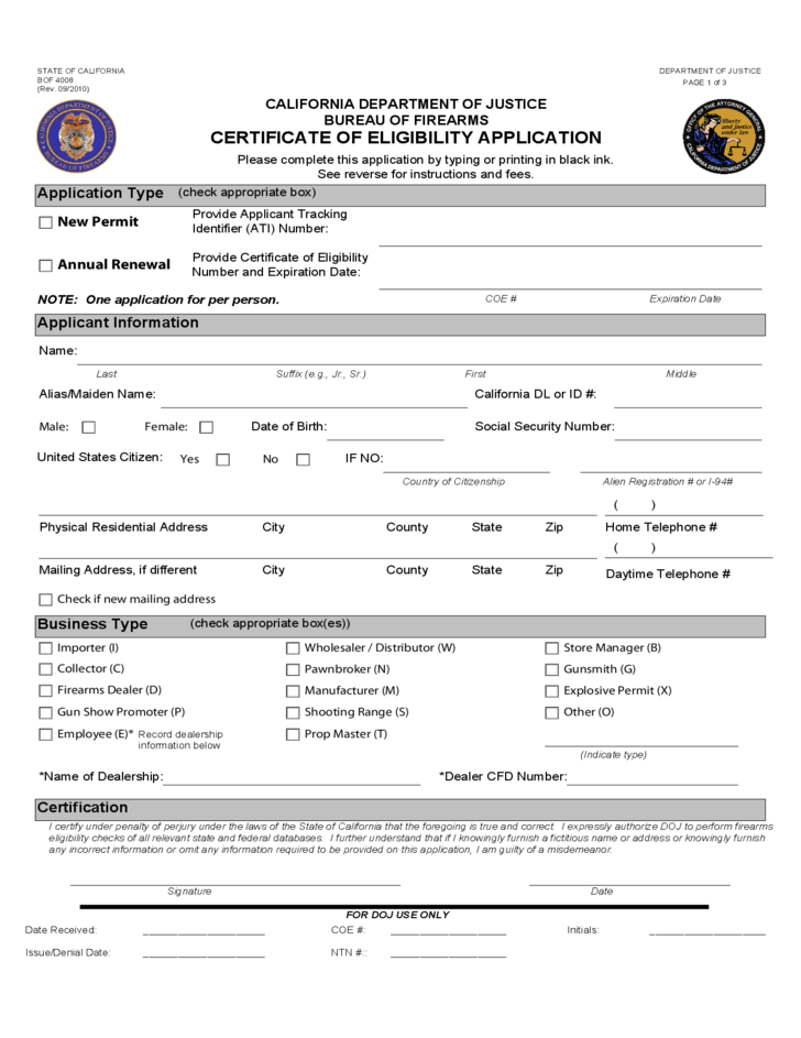 Certificate of eligibility application califonia free for California id template download