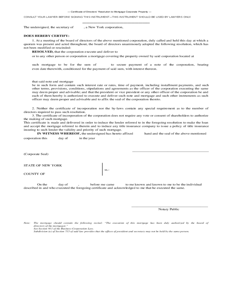 Corporate Secretary Certificate Form Pictures to Pin – Corporate Resolution Form