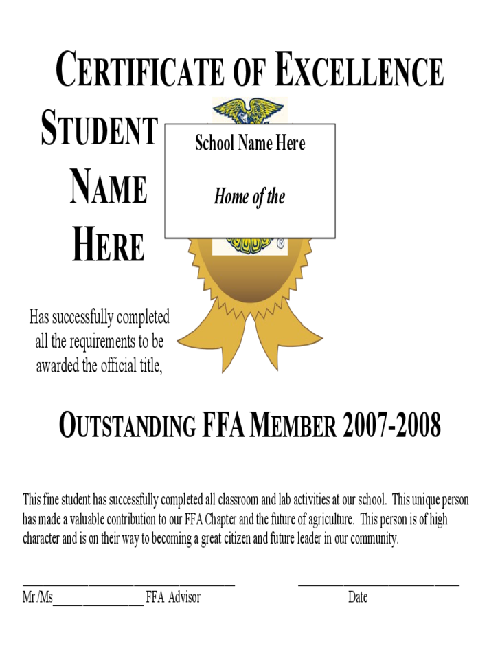 Blank certificate of excellence template free download for Certificate of excellence template