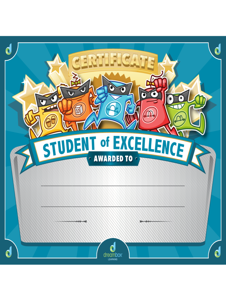 Student of Excellence Certificate Template