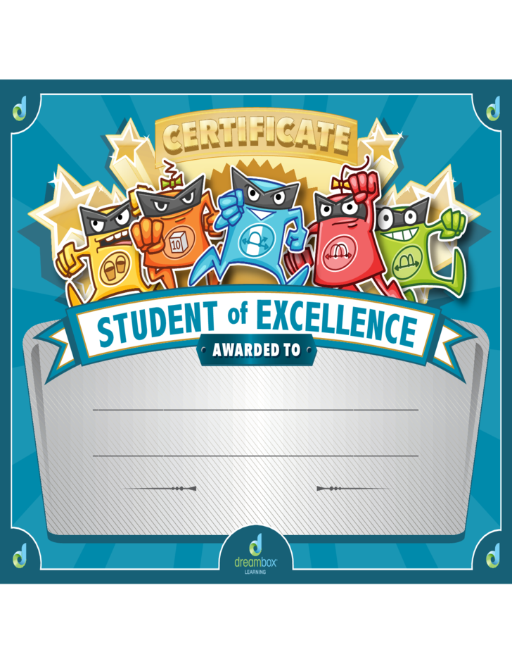 student of excellence certificate template free download