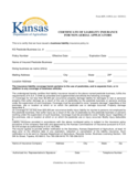 Certificate of Liability Insurance Form - Kansas Free Download