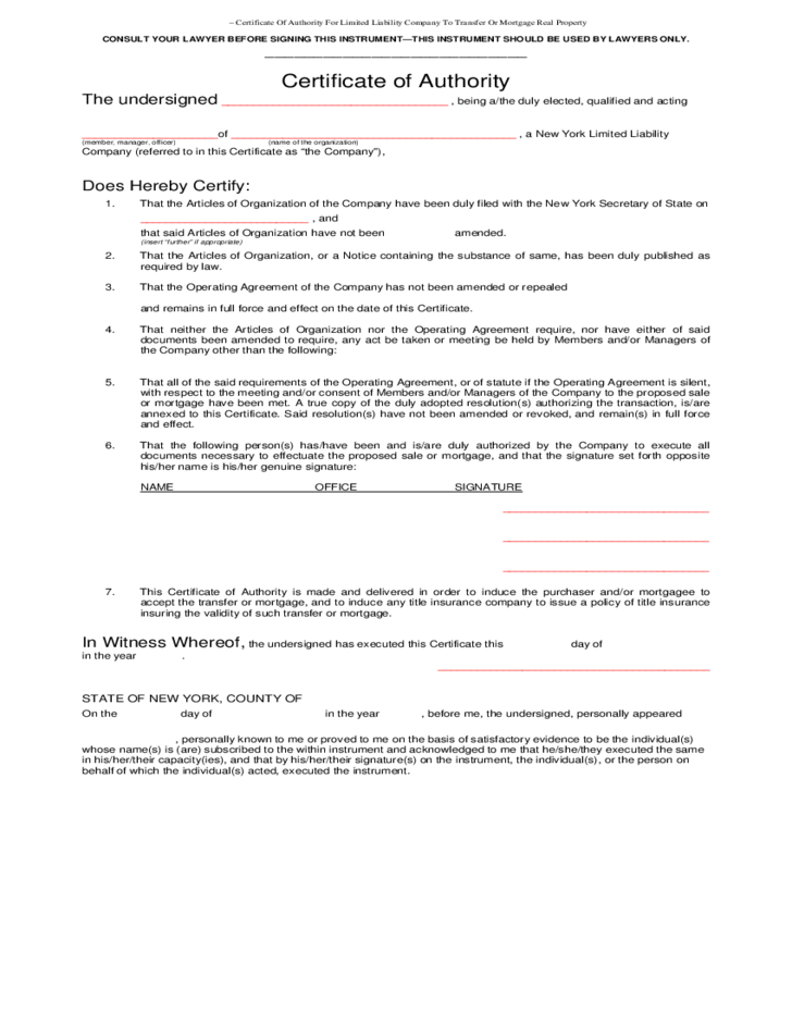 Certificate of Authority for Limited Liability Company Free Download – Certificate of Authority Sample