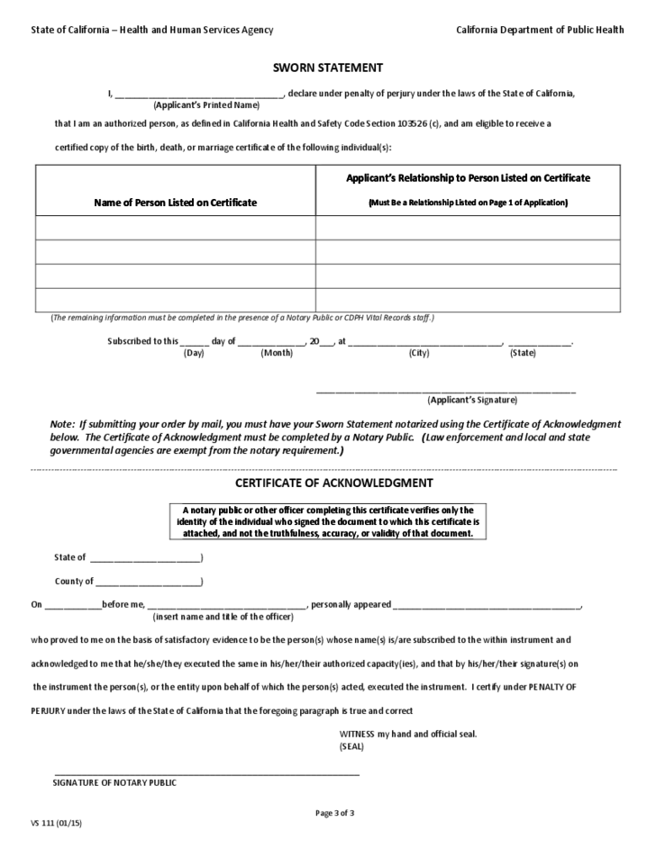 Application For Certified Copy Of Birth Record California Free