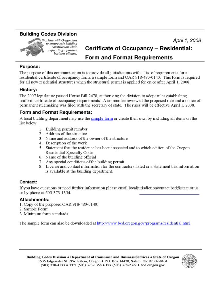 Certificate of occupancy form 2 free templates in pdf word certificate of occupancy residential form and format requirements xflitez Choice Image