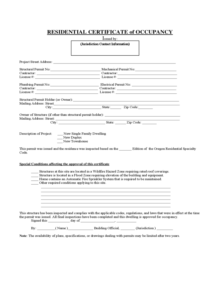 Certificate of Occupancy -Residential :Form and Format Requirements ...