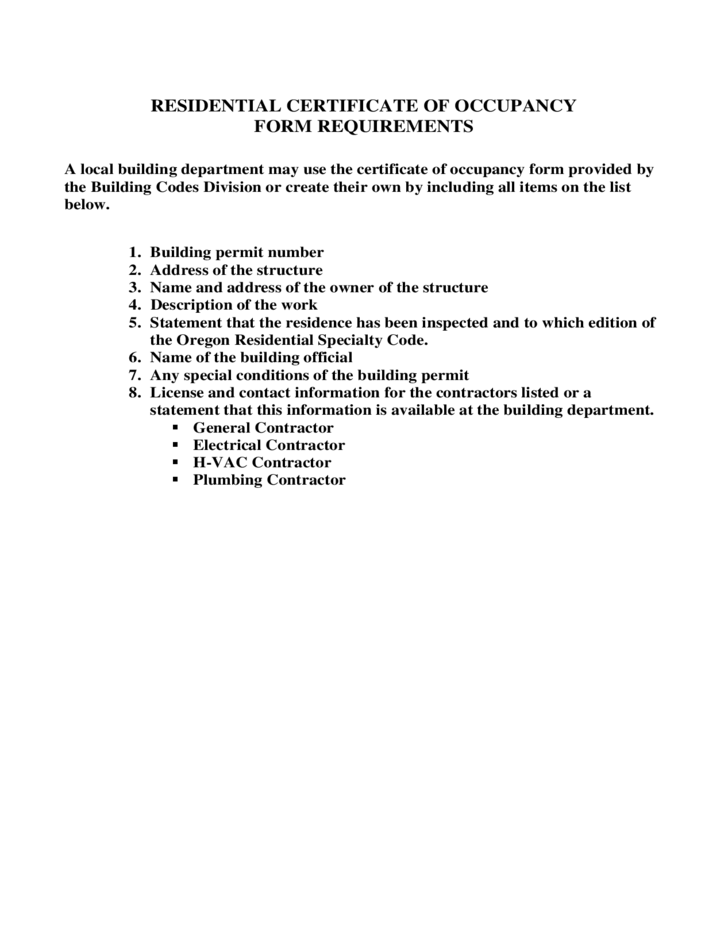 Certificate of Occupancy -Residential :Form and Format Requirements