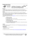 Certificate of Occupancy -Residential :Form and Format Requirements Free Download